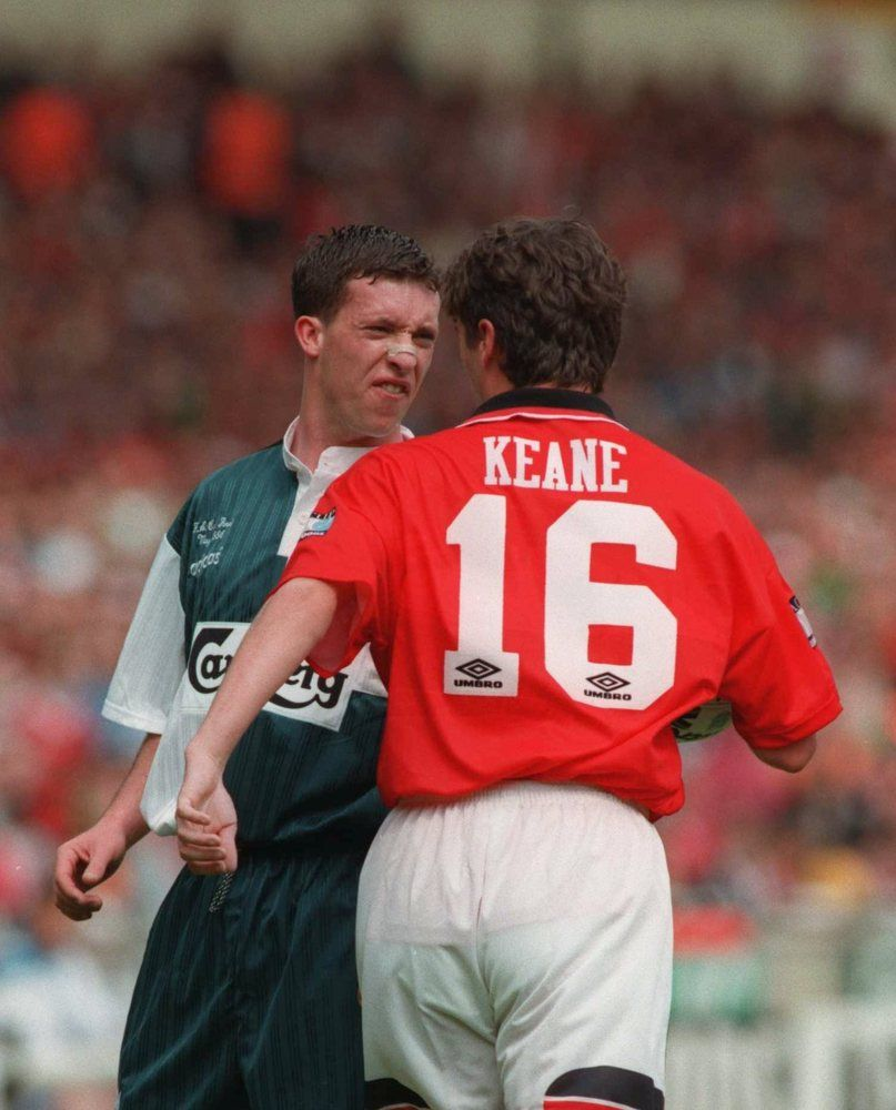 English Football S Greatest Rivalry Lfc Vs Man Utd In Pictures Robbie Fowler And Roy Keane Get Acquain Liverpool Football Club Liverpool Football Liverpool