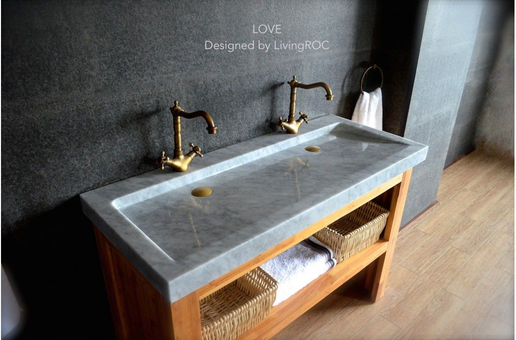 47 39 39 Double Trough Carrara White Marble Bathroom Sink Love 919 Without Predrilled Holes Just
