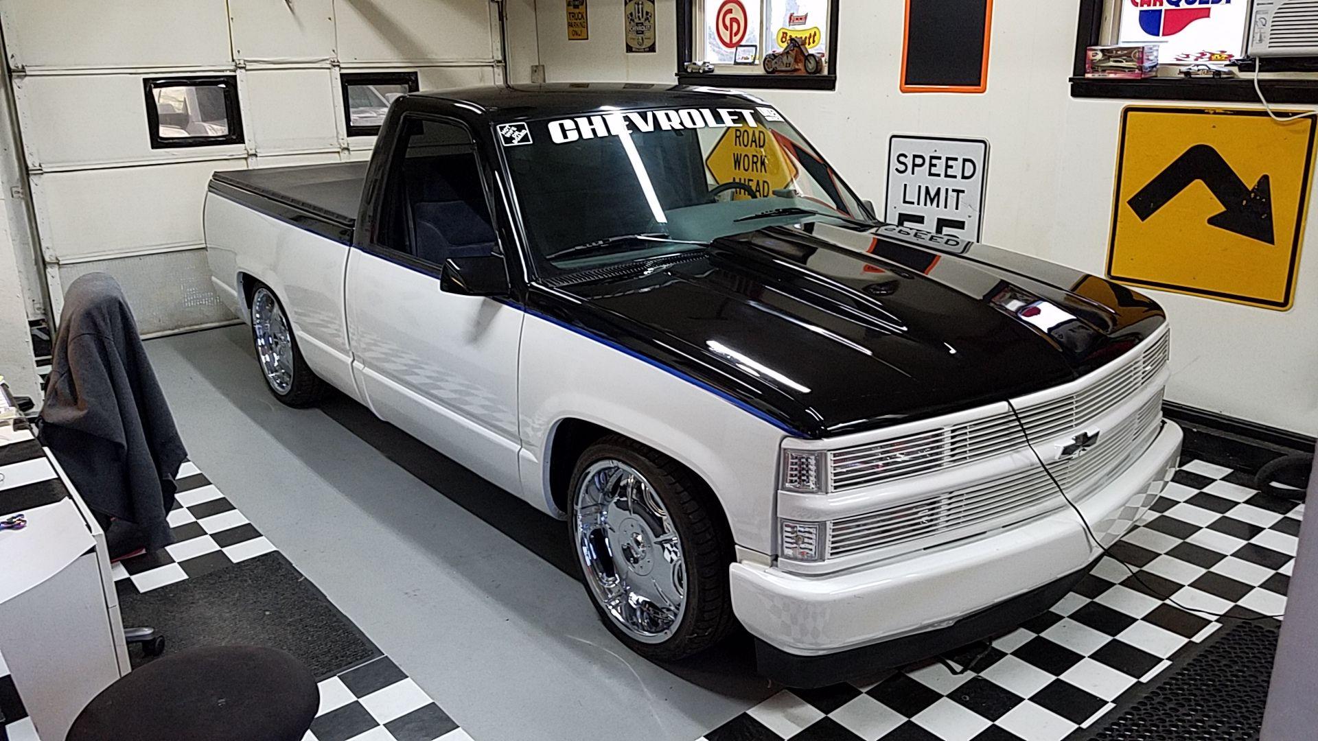 1995 C1500 Silverado in her garage (room). Chevy trucks