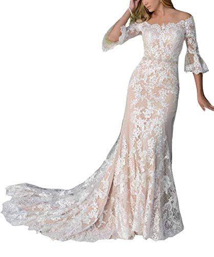 Plumlulu Womens Bell Sleeve Lace Mermaid Wedding Dress 20