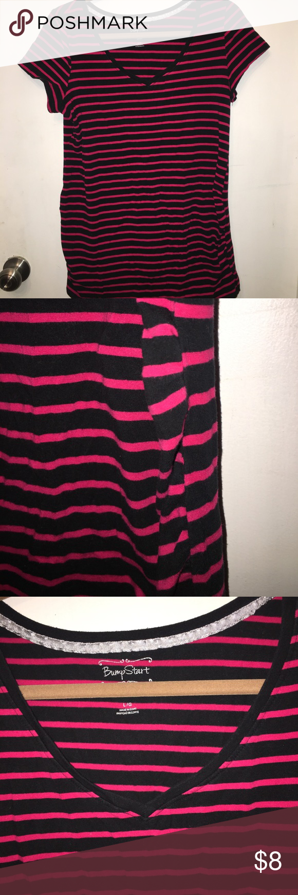 Black and pink stripe Maternity Tee. Size Large Bump Start by Motherhood Maternity black and pink stripe fitted tee. Size Large. Looks adorable with leggings, jeans, or shorts!! BumpStart Tops Tees - Short Sleeve