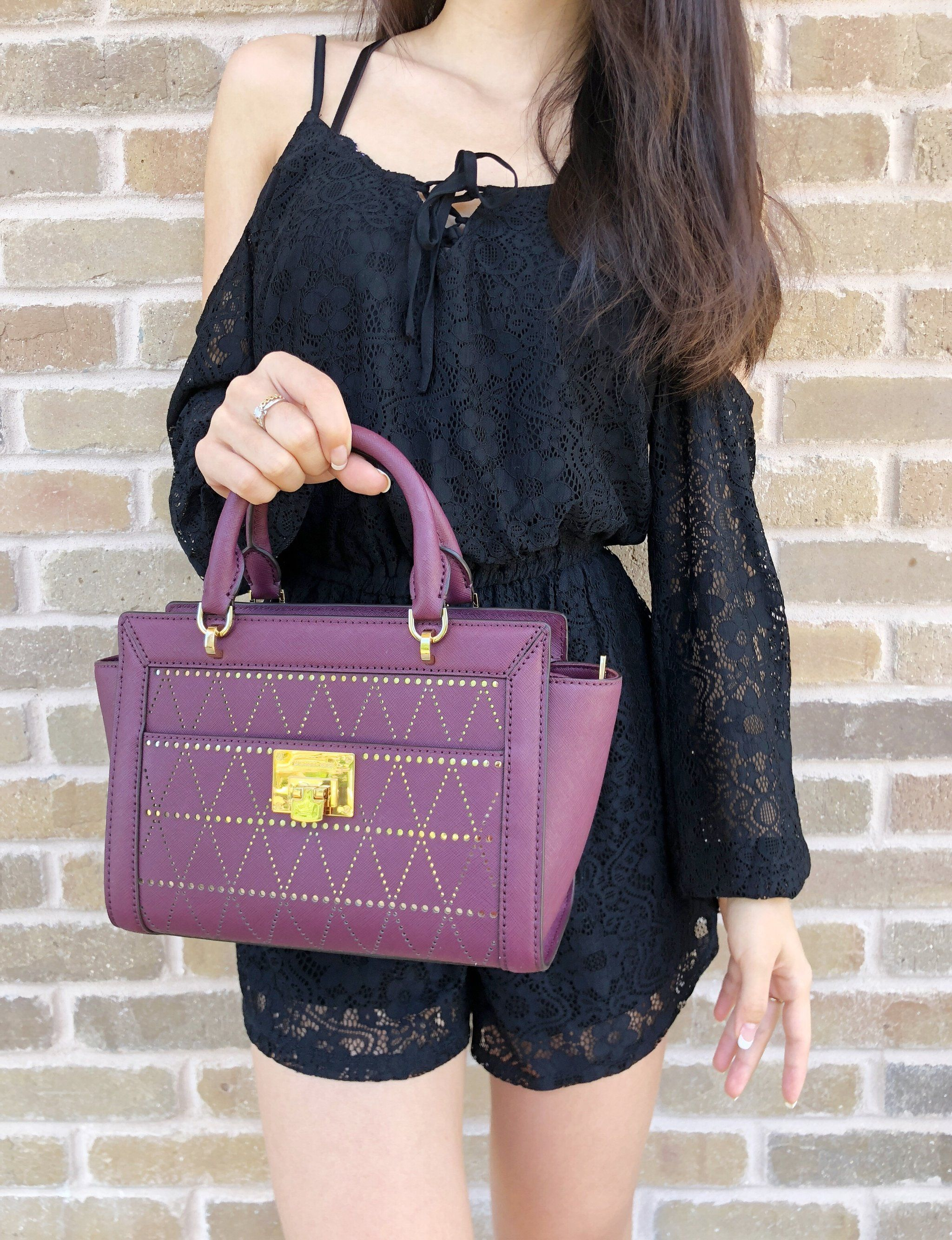 e9b485cd3f438e NWT Michael Kors Tina Small Top Zip Satchel Handbag Crossbody Plum ...