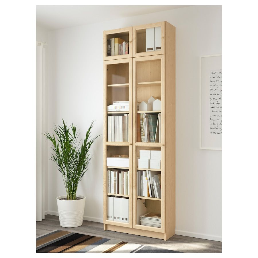Billy Oxberg Bookcase Birch Veneer 31 1 2x11 3 4x93 1 4 Ikea Minimalist Bookshelves Bookcase Glass Shelves Decor