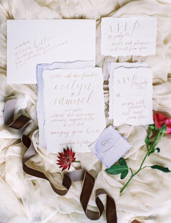Old World Wedding Inspiration Everything That Sparkles Calligraphy Invitation