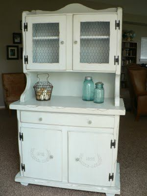 DIY makeover- 70\'s hutch to shabby chic - I see an 80\'s dresser made ...