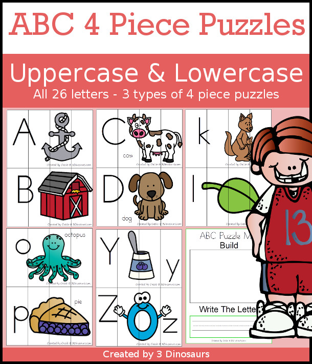 ABC 4 Piece Puzzles for the Whole Alphabet 3 Dinosaurs