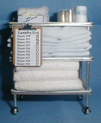 Doll Miniature Handcrafted Medical Hospital Laundry Cart 1 12