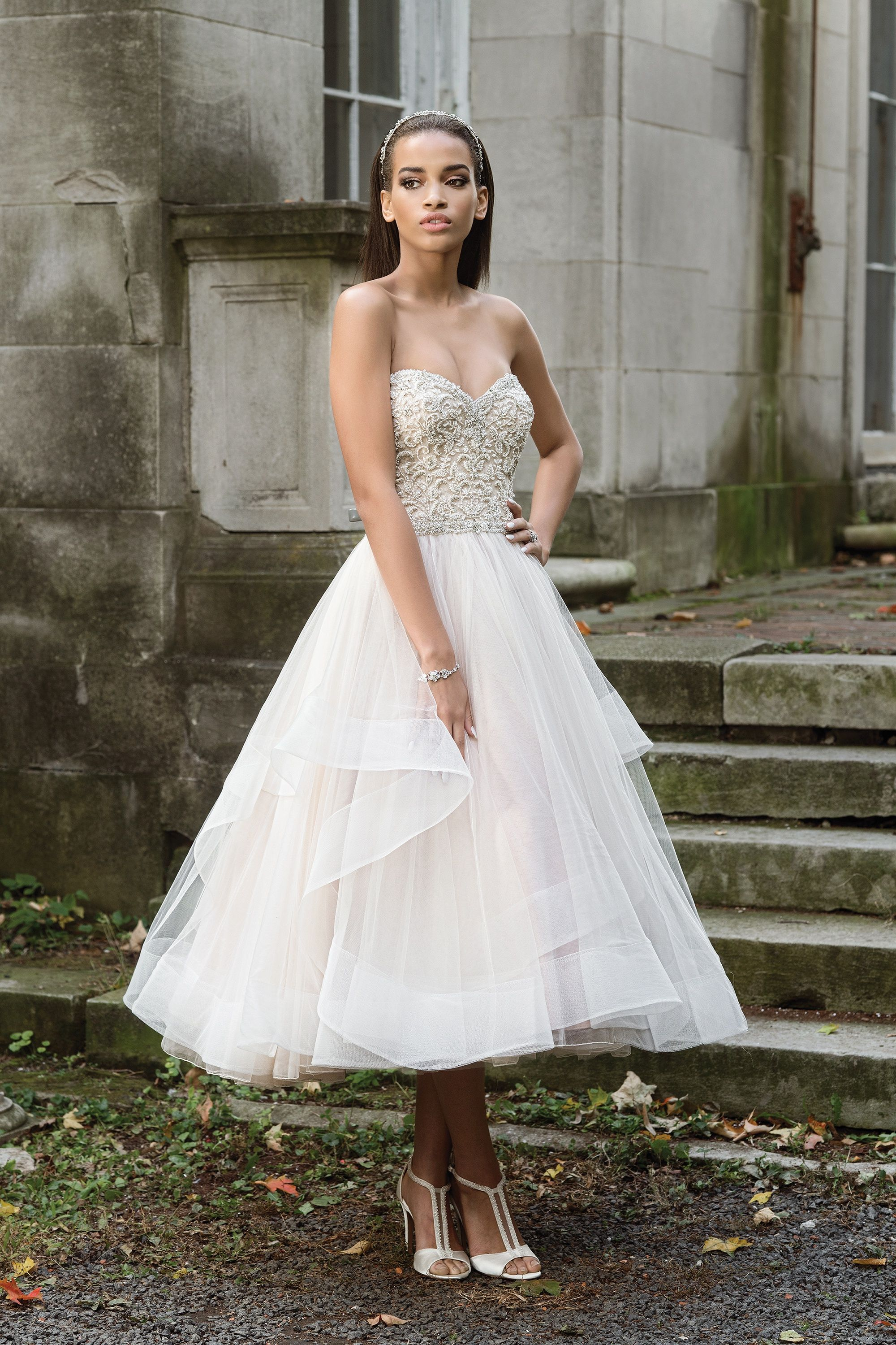 Style 9869 Opulently Beaded Layered Tea Length Ball Gown