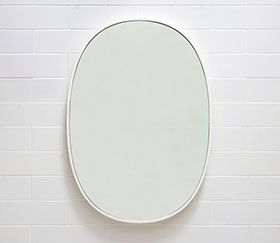 Lapidus White Lacquer Oval Bathroom Mirror