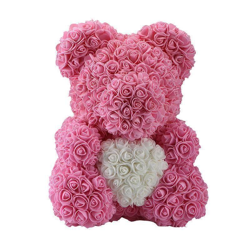 "15/"" Rose Bear Heart Roses Flower Crafts Valentine/'s Day Birthday Gift Girls Gray"