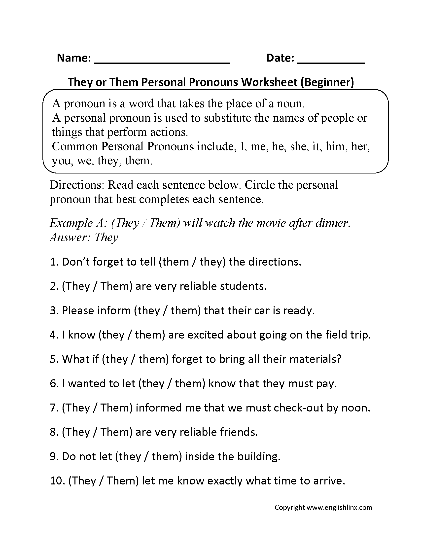 They or Them Personal Pronouns Worksheets Beginner | Birthday ...