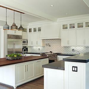 Brooke Wagner Design - kitchens - L shaped kitchen, galvanized metal pendants, long kitchen