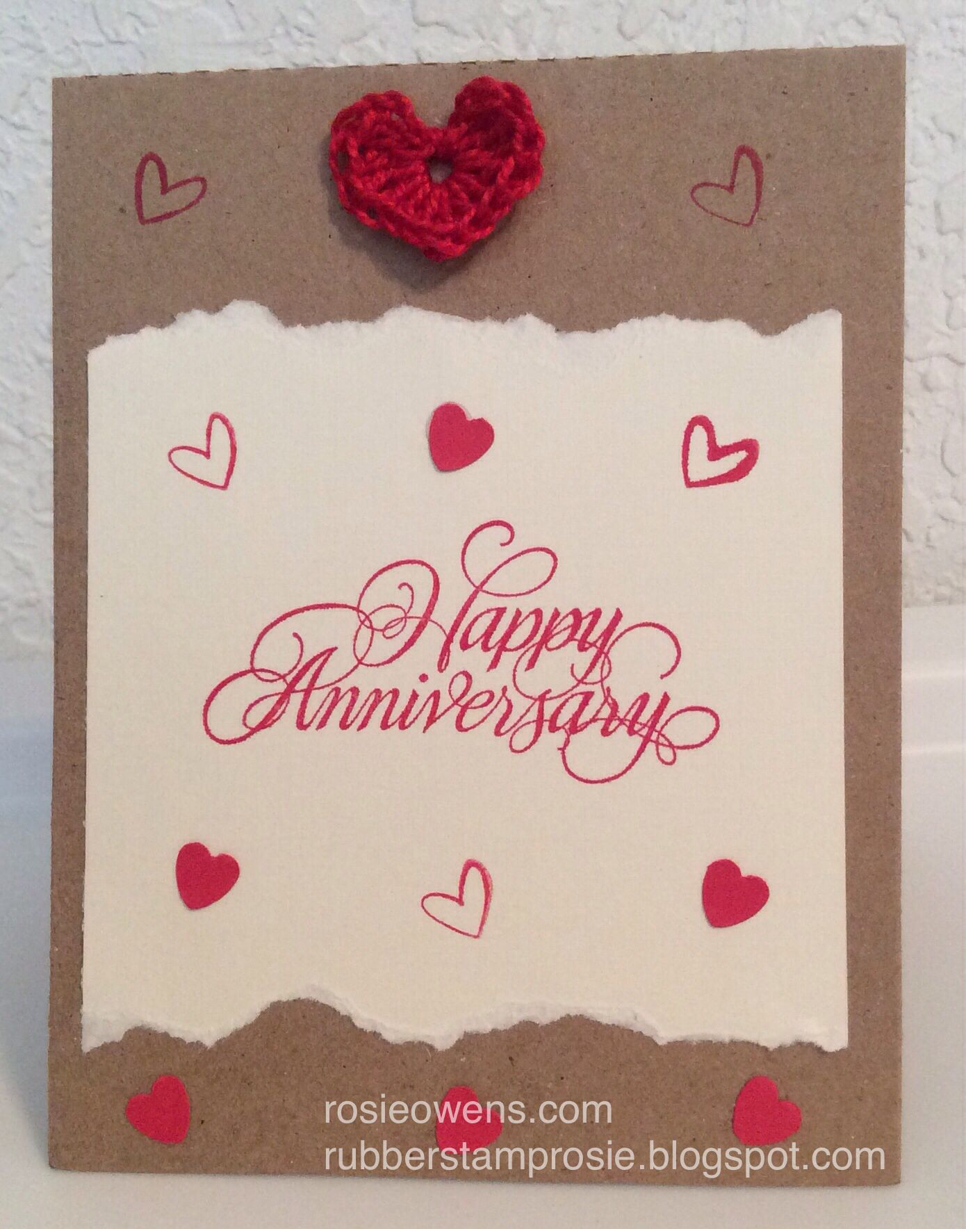 Anniversary Card Crochet Heart Made With Craft Thread Punch Out Tiny Hearts Acrylic Heart Stamp Ha Card Factory Anniversary Cards Greeting Cards Handmade