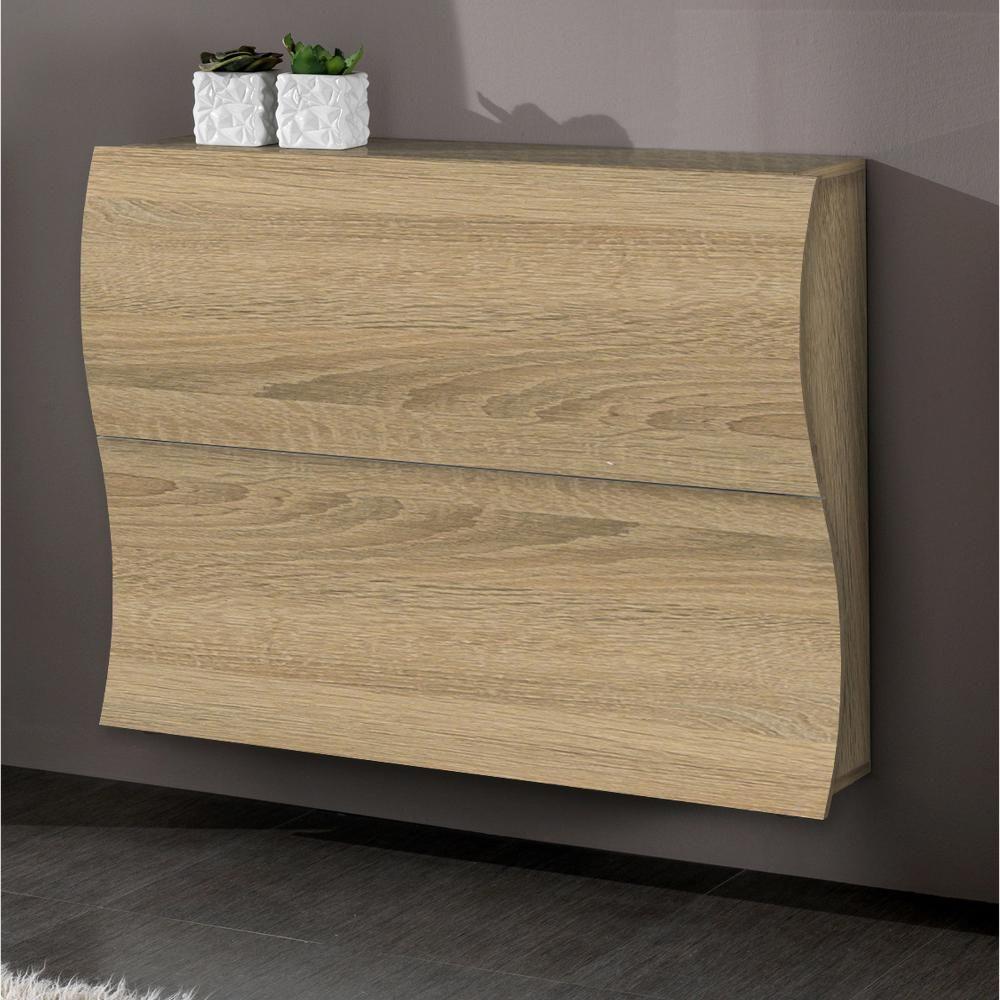 Scarpiera 2 ante 110x27xh82 cm in legno Laccato Rovere SEGATO ONDA ...