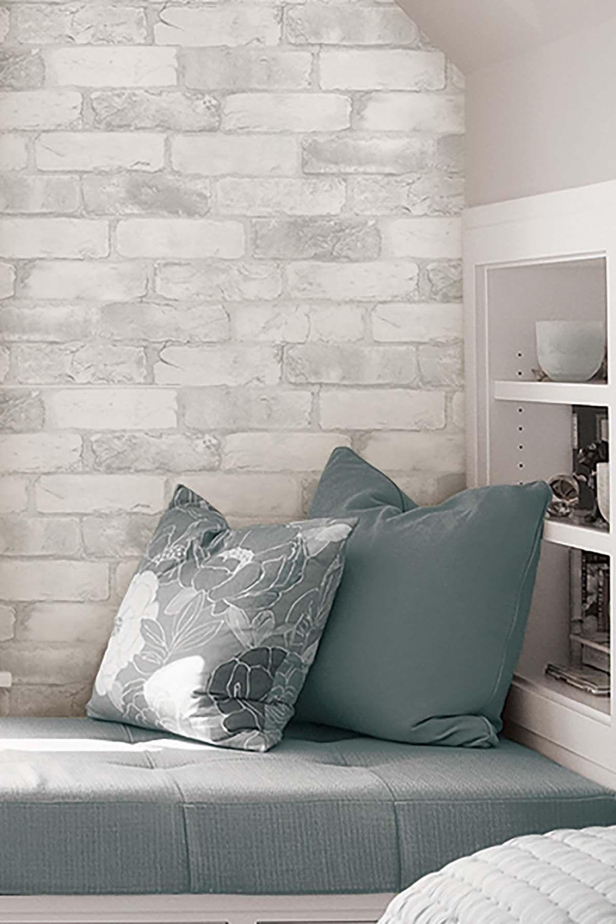Wallpops Loft White Brick Peel Stick Wallpaper Hautelook In 2021 Brick Wallpaper Bedroom Brick Wall Bedroom Faux Brick Walls