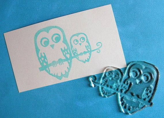 two owls on a branch clear polymer rubber stamp by sugarskull7