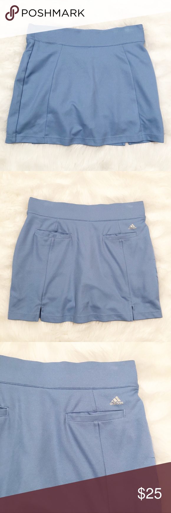 Adidas light blue clima cool golf skort 4 Excellent used condition Adidas light blue clima cool golf skort 4. The color is best shown in the photo of the size tag. Stretchy throughout. Mini length. Waist- approximately 15 inches, length- approximately 15.5 inches. J adidas Shorts Skorts #lightblueshorts