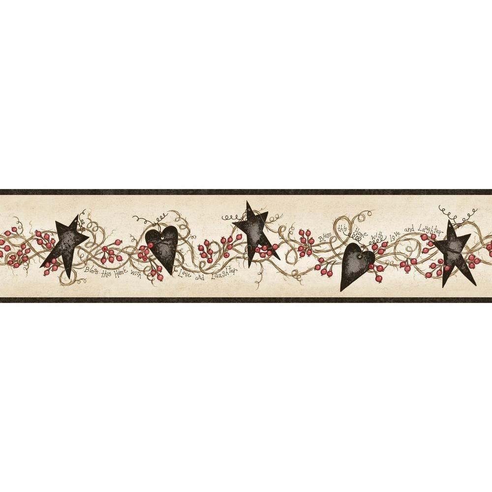 Chesapeake Paxton Black Tin Hearts Stars Black Wallpaper Border Ctr65172b The Home Depot Star Wallpaper Wallpaper Border Black Wallpaper