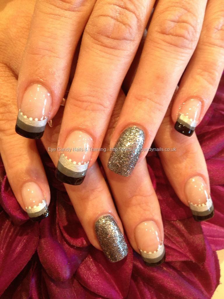 3 Colour Stripe Tips With Glitter Nail Blah Blah Blah Pinterest
