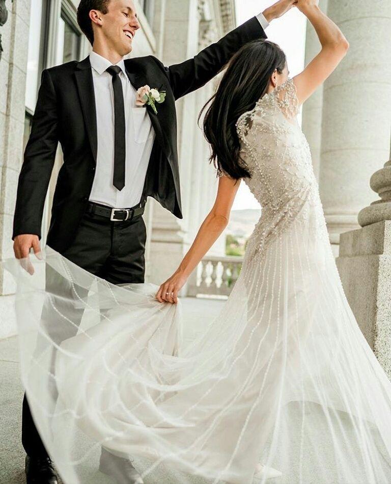 modest wedding dress lds temple wedding beaded aline flowy dress cap ...
