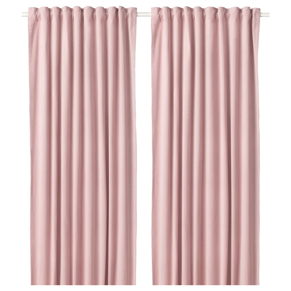 Sanela Deels Verduisterende Gordijnen 1pr Lichtroze 140x300 Cm Ikea Light Pink Rooms Pink Curtains Room Darkening