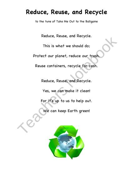 Reduce, Reuse, Recycle Poem from Second Grade Superstars on ...