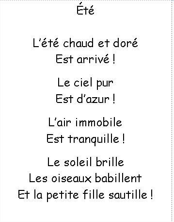 Poesie Ete Chansons Comptines Comptines Comptine Maternelle