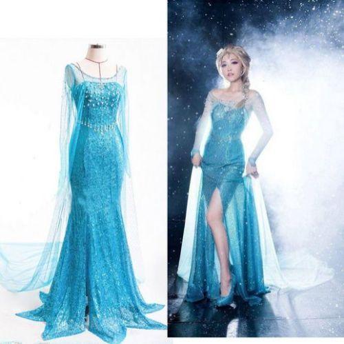 Elsa Frozen Princess Gown Adult Woman/'s Fancy Party Dress Up Costume Gown