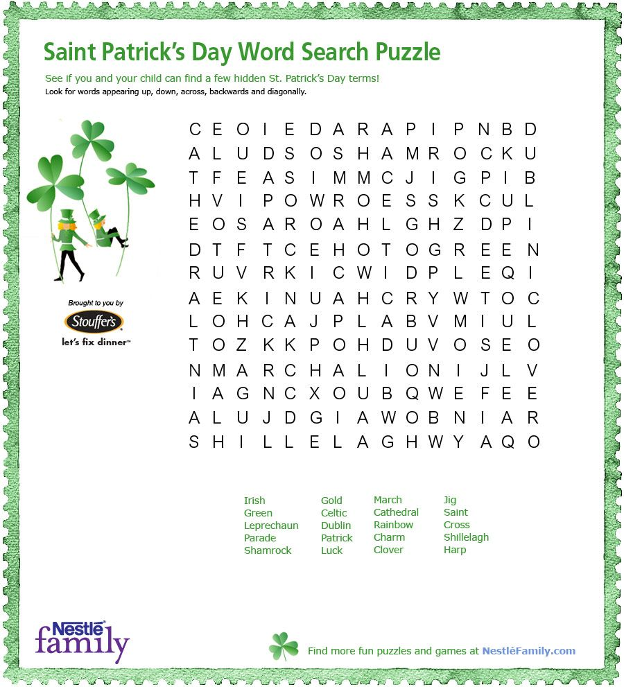 St Patrick's Day Word Search Puzzle | Free Printable Games ...