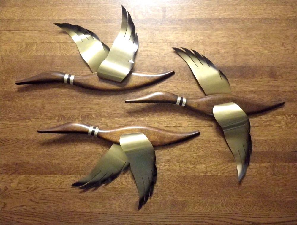 AWESOME! Set of 3 1960s Maskateers Wood/Brass Geese Duck MCM Danish Wall Art