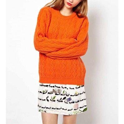 Orange Long Sleeve Twist Knit Sweater