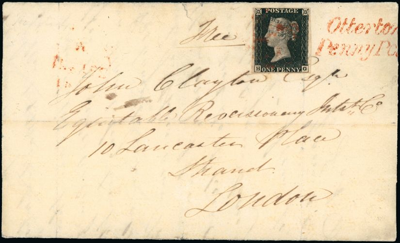 Postal History and Covers: Devon: Exeter: 1841 (Jan. 27) entire from Otterton to London, bearing 1840 1d. black plate 6 HG, fine with close to large margins, neatly tied by red Maltese Cross with ''Otterton/Penny Post'' in red alongside. S.G. AS41.
