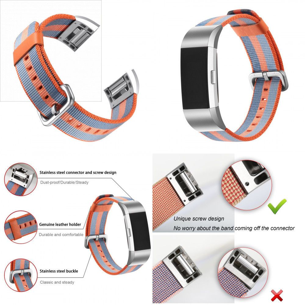 Premium Stainless Steel Band Strap Adjustable X-Link Wrist for Fitbit Charge 3