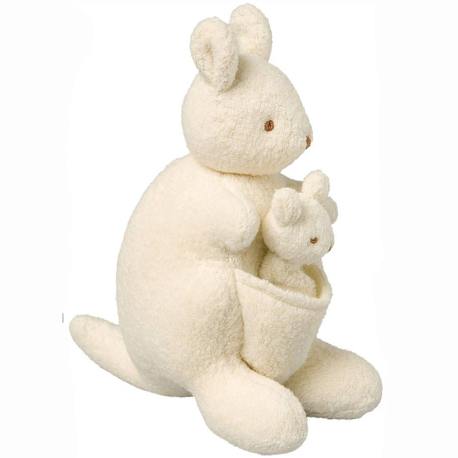Delightful kangaroo musical soft toy.Adorable super soft fleece kangaroo and joey musical toys, by Trousselier of France, come in a very pretty gift box. Pull the cord by taking the joey out of its mother's pouch to listen to the sweet tune, these soft toys are sure to become any baby or toddler's favourite. They make a perfect Christmas, Christening or birthday gift.Fleece. Remove music box before washing.H 20cm
