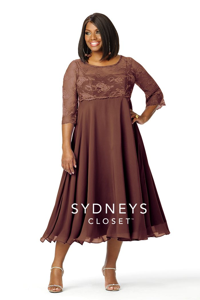 Plus Size Tea-length Lace Dress Sleeves | SC4017 | Sydney\'s Closet ...