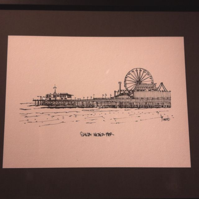 Illustration Of The Santa Monica Pier With Images Line Art Tattoos