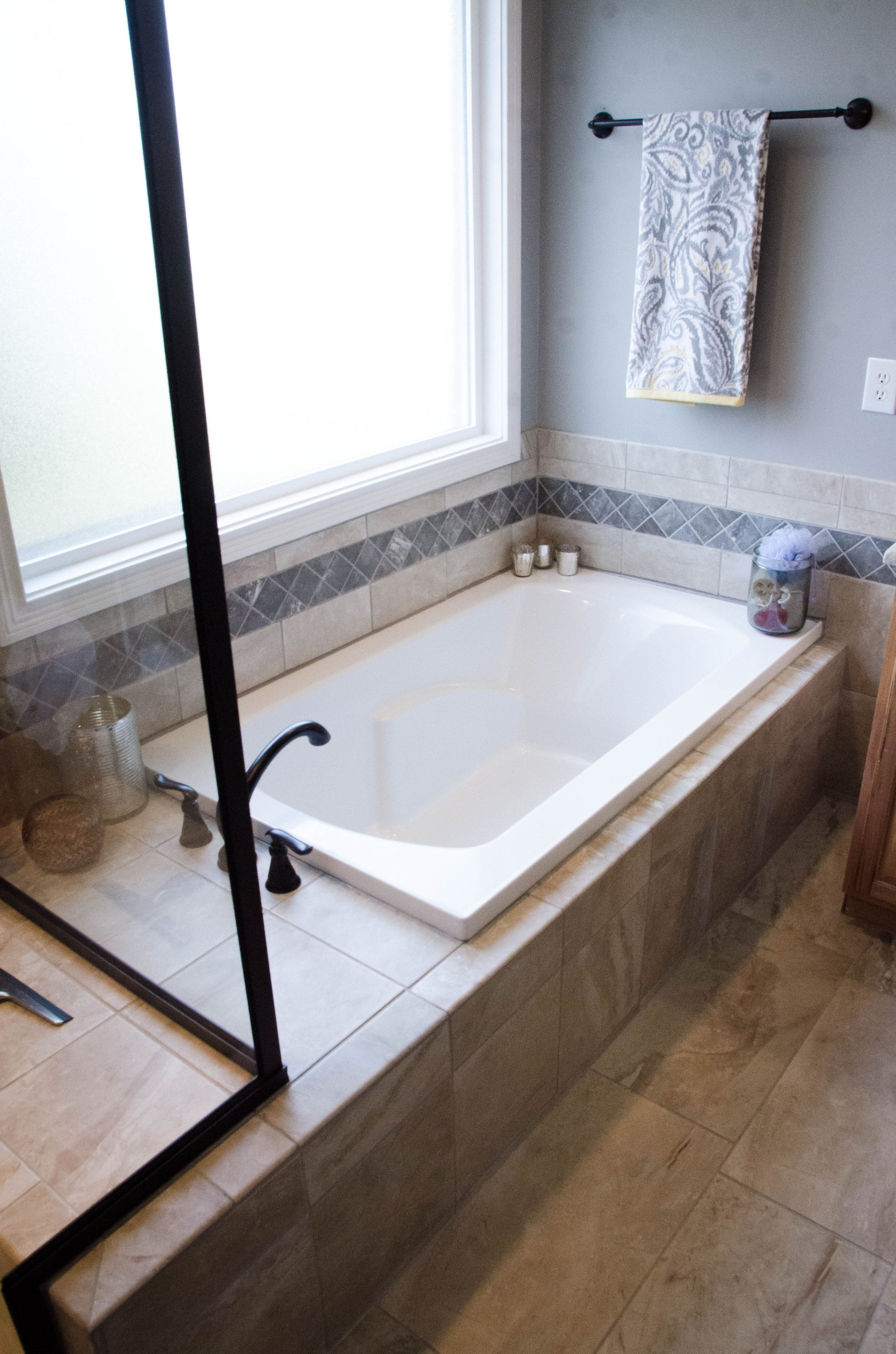 drop-in tub with gray tile | our work | pinterest | grey tiles