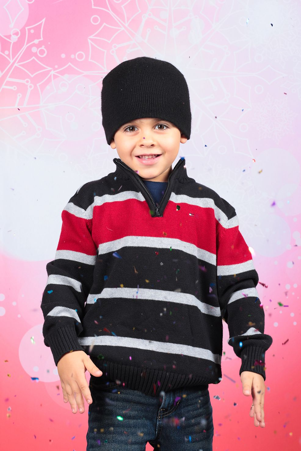 Red Snowflake Bokeh Printed Backdrop from Backdrop Express - a fun and beautiful winter holiday background!