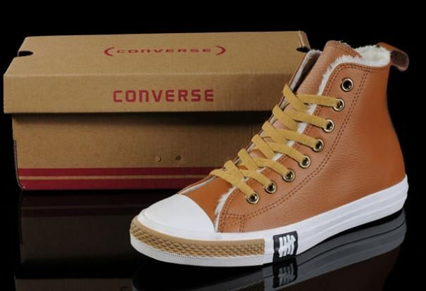 Fashion Maroon Soft Nap Tawny Converse Winter All Star Shearling High Tops  Leather Shoes Cheap Sale