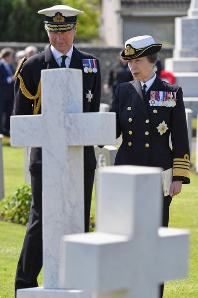 Princess Anne, Princess Royal joined by Vice Admiral Sir Tim Laurence attends a service at a war graves cemetery to mark the Battle of Jutland on May 28, 2016 in South Queensferry,Scotland. The events begin a weekend of commemoration leading up to the anniversary on 31 May and 1 June to mark the centenary of the largest naval battle of World War One where more than 6,000 Britons and 2,500 Germans died in the Battle of Jutland.
