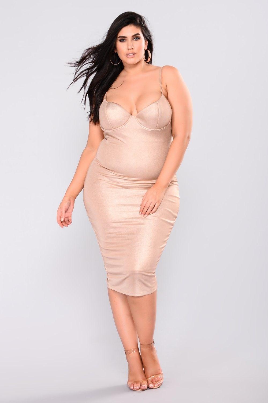 Plus size caddie lurex midi dress rose gold fashion ootd