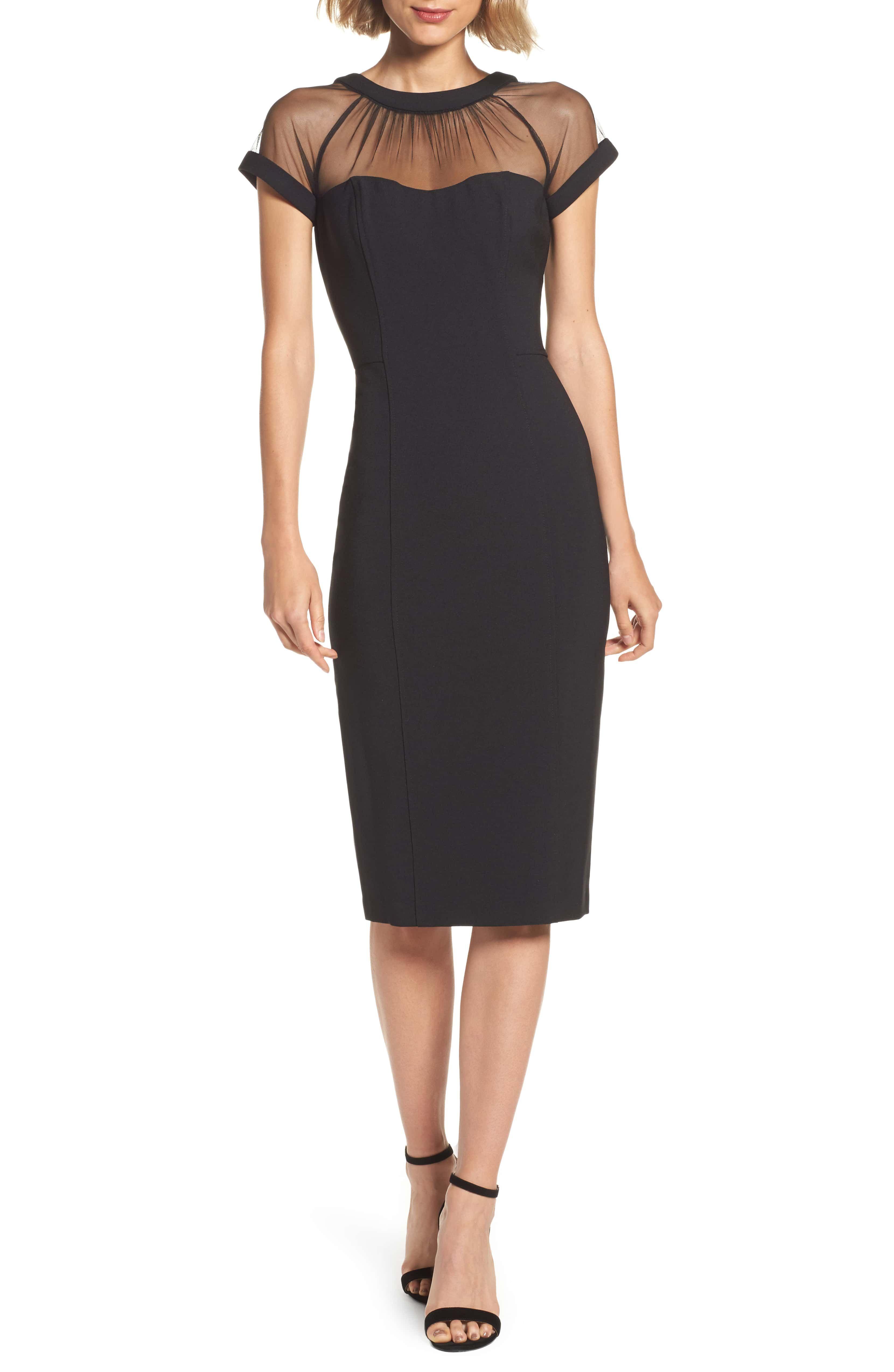 e08f71e1 MAGGY LONDON Illusion Yoke Crepe Sheath Dress, Main, color, BLACK ...