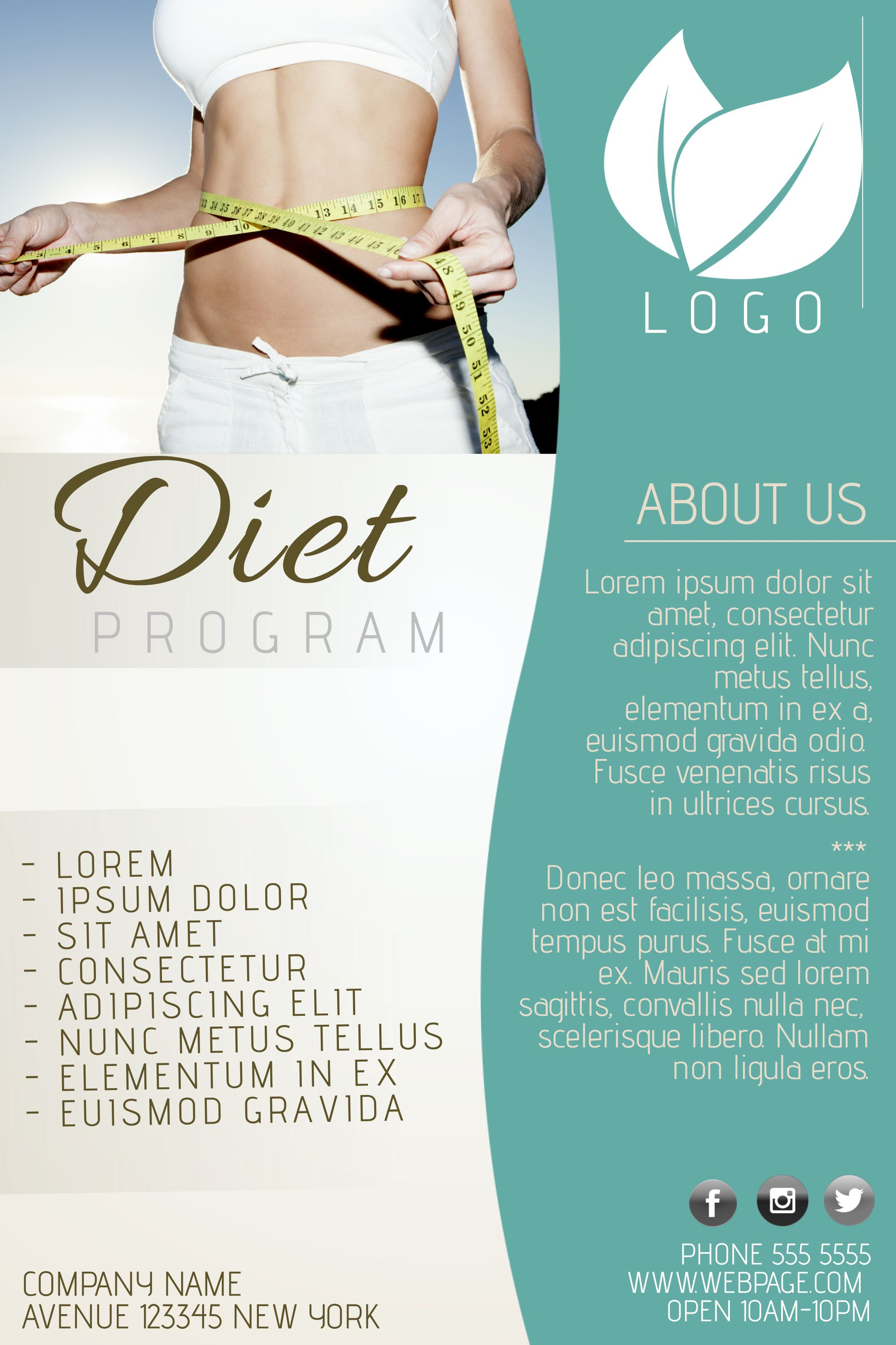 Diet Program Advertisement Poster Template.  Advertising Poster Templates