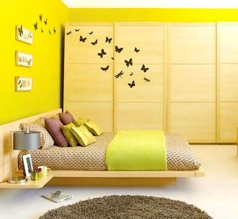 Bedroom : Modern Acid Yellow Bedroom Brown White Bedding Yellow Bed Runner  Low Profile Bed Eight