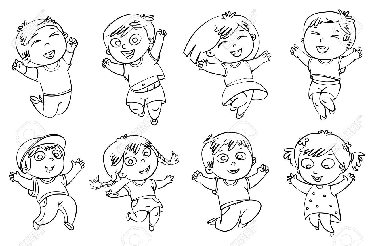 Children Jump For Joy Coloring Book Vector Illustration Isolated Royalty Free Clipart Book Vector Illustration Childrens Illustrations Book Coloring Books