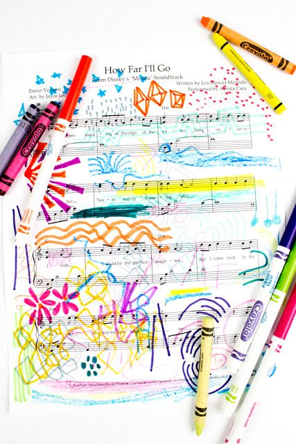 Easy and Colorful Sheet Music Art is part of Kids Crafts Activities Student - Do your children enjoy listening to music  Well, great! Here's an easy way to combine music and art into an easy and colorful activity! My boys loooooove holding dance parties at home  While listening to one of their favorite songs (on repeat oh boy, do we love Moana, Trolls, and 80s music), I thought of trying out this fun activity  Tada! Today we're making sheet music art! Make Sheet Music Art with Kids Want to make some Sheet Music Art with your kids too  Ok! All you have to do is print out the first page of a favorite song  Then, pull out your crayons and markers  Then, play your favorite music  As you listen to it, draw! Depending on long the song is, you might have to play it a couple of times to really get into the creative groover  (We played our songs 3x each ) That's it! I did this activity jointly with my eldest  While we listened to the music we talked about  how the music made us feel  what words seemed to pop out at us  what we imagined while listening to the music As we talked about those things, we drew out our ideas and feelings  The resulting sheet music was decorated with all sorts of symbols, shapes, images, and colors  This was such a neat way to connect with my eldest AND talk about music in an easy and accessible way  I hope you have fun trying this idea out with your kids too! Happy making, friends!
