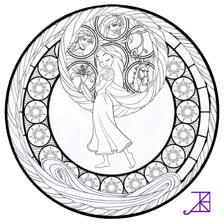 Coloring Pages For Rapunzel : Disney tangled : rapunzel stained glass line art by akili