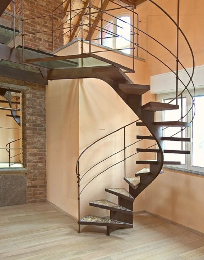 Wooden Gorgeous Floating Staircase Kit For Your Inspiration : Extraordinary  Interior Stair Decoration Using Spiral Brown Metal .
