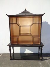Pagoda Curio Bookcase Console Dorothy Draper Inspired Chinoiserie Chinese Asian