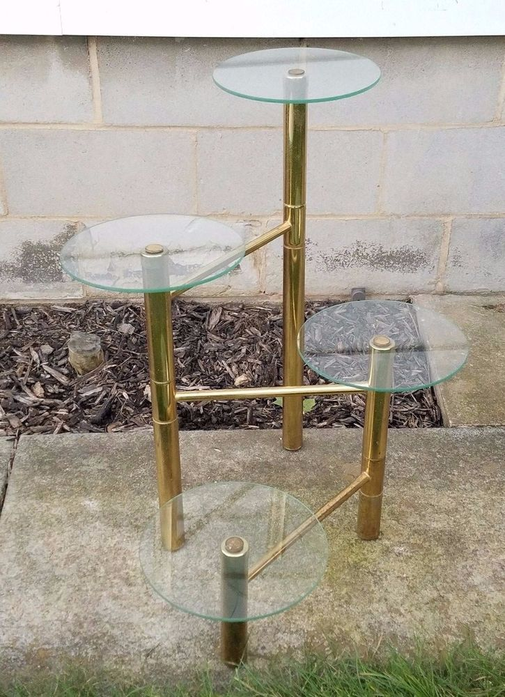 Vintage Mid Century Modern Glass Brass Plant Stand Table 4 Tier